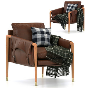 3D havana leather chair model