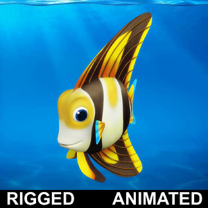 cartoon fish rigged animation 3D model