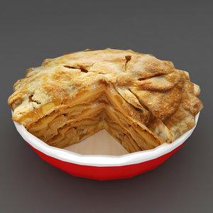 3D food hot apple pie