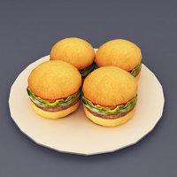 Hamburgers lowpoly 3d model