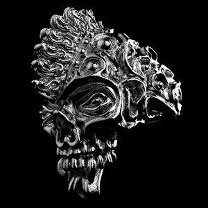 3D badass gothic punk skull model