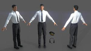 airline captain cap 3D model