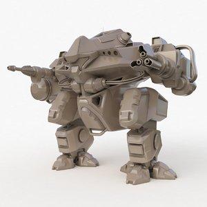 3D model mecha robo cop clay