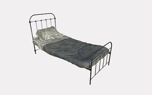 bed single dirty 3D model