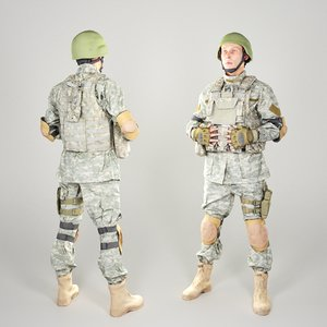 equipped soldier american 3D model