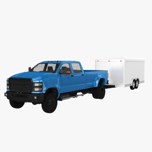 3D model large pickup cargo trailer