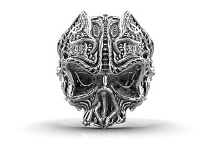 gothic skull ring ready 3D model