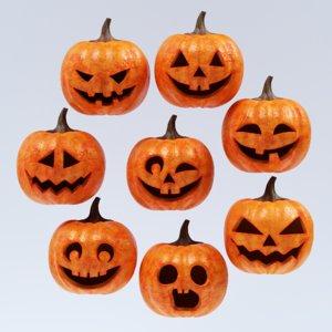 3D halloween pumpkin faces