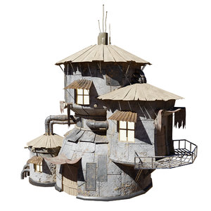 3D post-apocalyptic sci-fi hause building