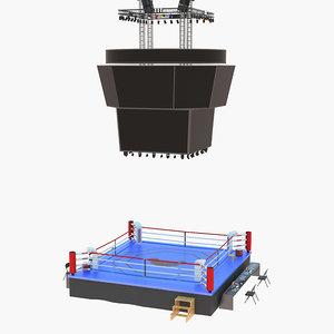 boxing ring scoreboard 3D model