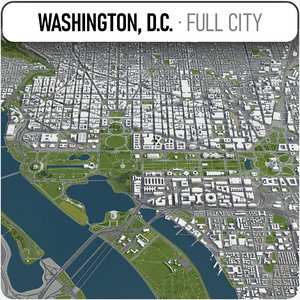 3D city washington surrounding area model