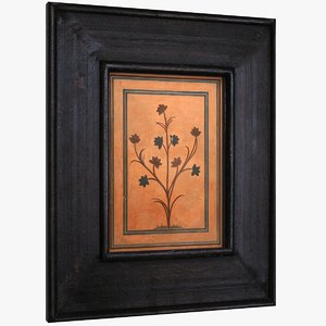 3D framed art distressed wood model