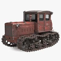 Old Rusty Soviet Crawler Tractor DT54