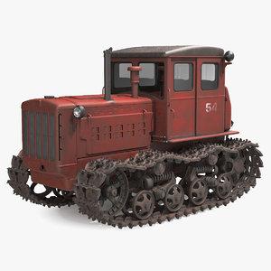 old soviet tractor dt54 3D model