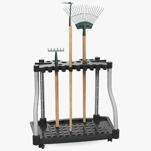 garden tool storage rack 3D model