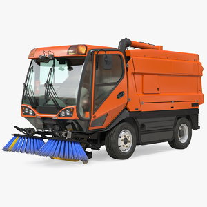 3D road sweeper vehicle rigged model