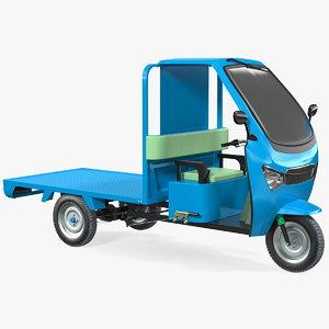 wheeler cargo rickshaw rigged 3D model