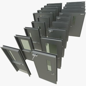 3D commercial steel doors model