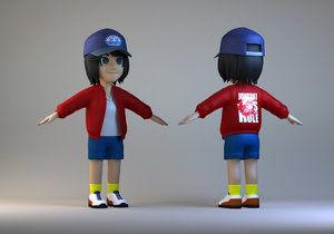3D cartoon delivery girl student model