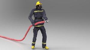character uniform fireman 3D model