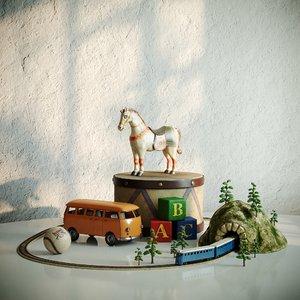 toy vintage set 3D model
