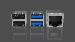 3D usb lan port model