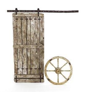 medieval wooden door wheel 3D