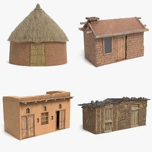 3D african house hut