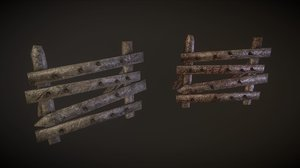 3D wooden barricades pack 2