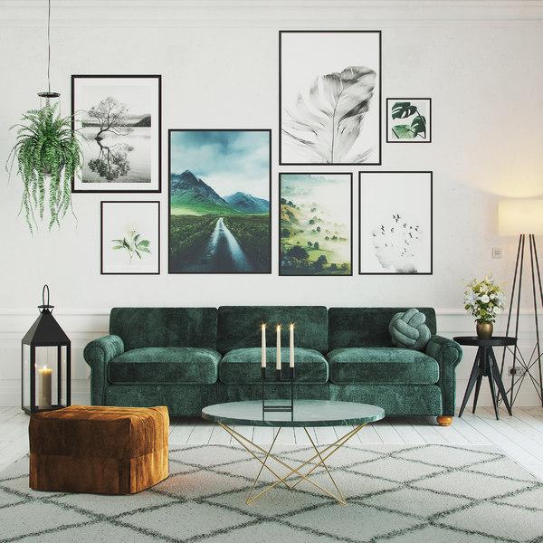 Interior Living Room Green Model, Green Living Room