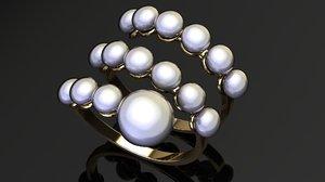 3D row pearl ring model