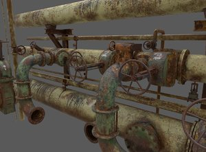 3D old rusty water control model