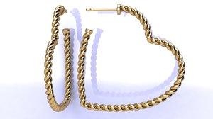 3D cable heart hoop earrings