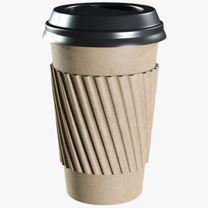 3D model realistic coffee paper cup
