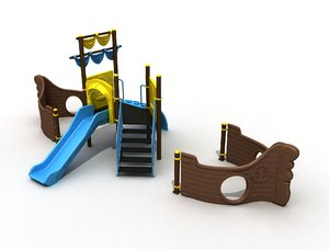 3D metal playground ship concept