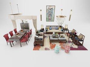 3D model living dining room set
