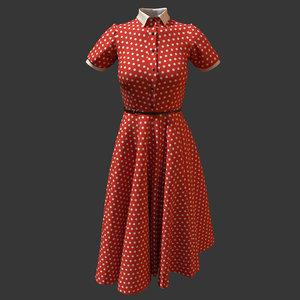 3D retro woman dress dots