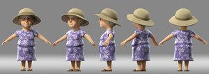 cartoon grandma woman 3D model