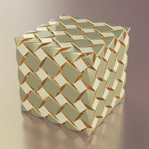 3D mosaic cube model