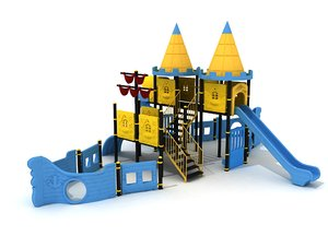 3D metal playground ship