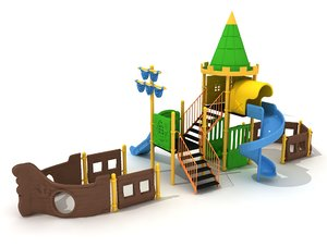 3D metal playground ship model