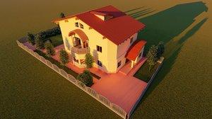 3D classic triplex house details