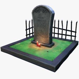 stylized gravestone arch grave 3D model