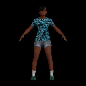 3D pre-teen girl rigged character model