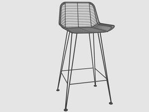 rattan bar stool - 3D model