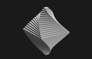 spiral vortex octahedron double 3D model