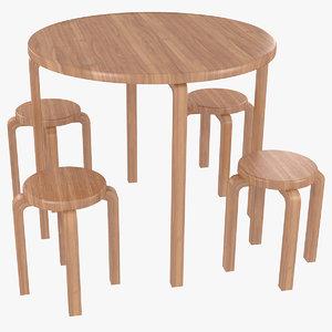 minimalist wooden artek alvar aalto 3D model
