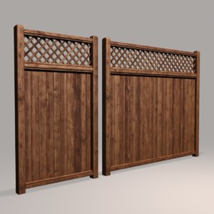 wood fence 02 3D model