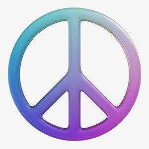 3D peace symbol 01 model