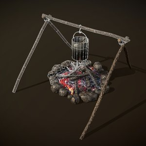 campfire cooking place 3D model